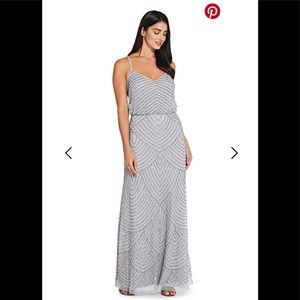 Adrianna Papell Art Deco Blouson Beaded Dress
